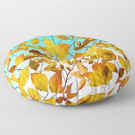 Autumn Leaves Azure Sky Floor Pillow
