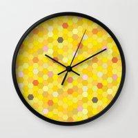 honeycomb Wall Clocks featuring Honeycomb by Nikky Starrett