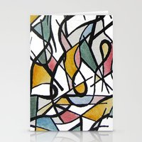 kandinsky Stationery Cards featuring Geometric Abstract Watercolor Ink by Ashley Grebe