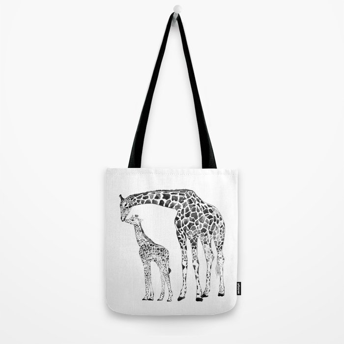 Giraffes, black and white Tote Bag