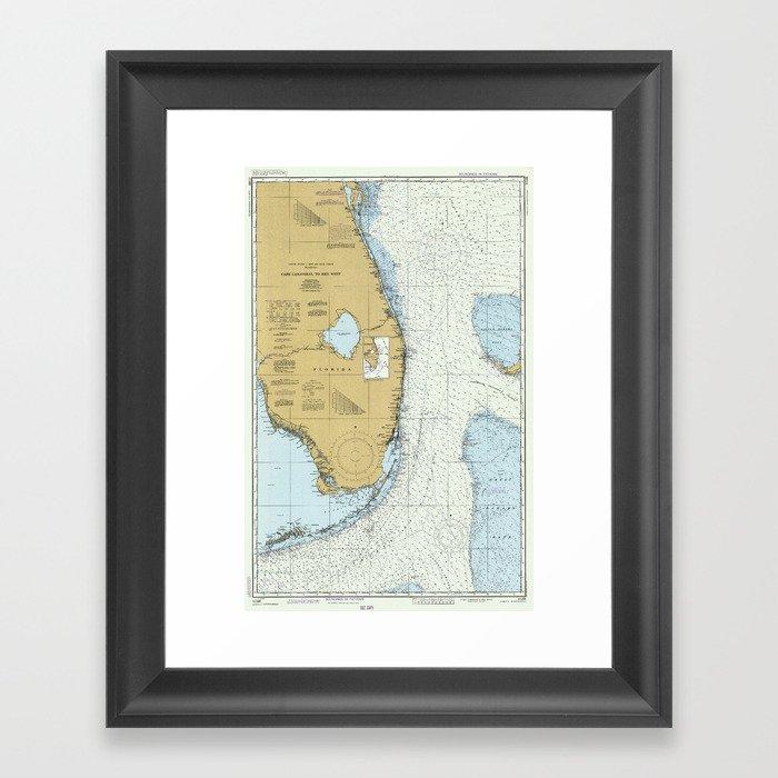 Map Of Florida Atlantic Coast.Florida Atlantic Coast Map 1982 Framed Art Print By Bravuramedia