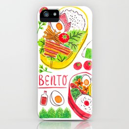 Japanese Bento Rice Lunch Box with Chopsticks & Onigiri iPhone Case
