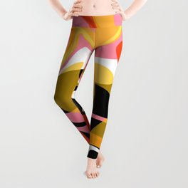 Twirl and Swirl - Pink, Orange, Black, Yellow Leggings