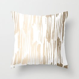 White Gold Sands Thin Bamboo Stripes Throw Pillow