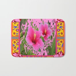 PINK TROPICAL RED-PINK HIBISCUS FLOWERS DESIGN Bath Mat