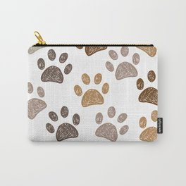 Brown colored hand drawn doodle paw print Carry-All Pouch