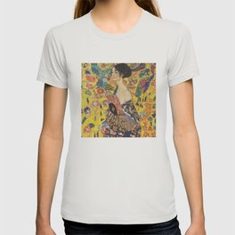 Gustav Klimt Lady With Fan  Art Nouveau Painting T-shirt