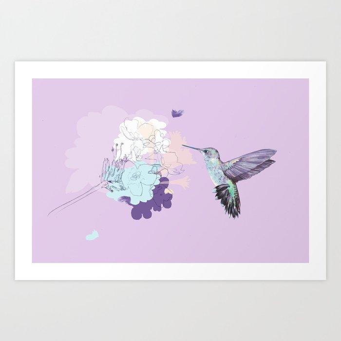 Lavender hummingbird and flower watercolor Art Print