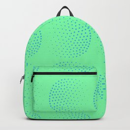 Blue Dot Circles on Green Background Backpack