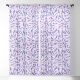 Blue nature on pink || watercolor leaves pattern Sheer Curtain