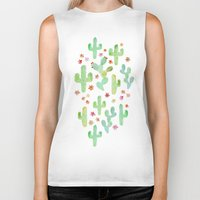 cacti Biker Tanks featuring Watercolor Cacti by Tangerine-Tane
