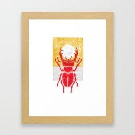 Red stag facing a golden sky Framed Art Print