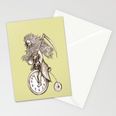 Father Time on a Penny Farthing Stationery Cards