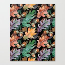 Colorful Woodland Watercolor Oak And Acorn Pattern Canvas Print