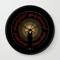lord of the rings Wall Clocks featuring The Lord of the Rings by Ian Wilding