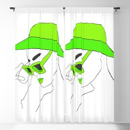 Lime Green Fashion Portrait Illustration Blackout Curtain