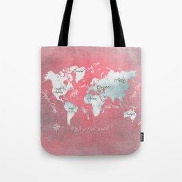 world map 143 red white #worldmap #map Tote Bag
