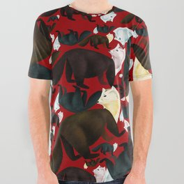 Marten tropical pattern Red All Over Graphic Tee
