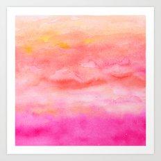 Bright pink orange sunset watercolor hand painted Art Print