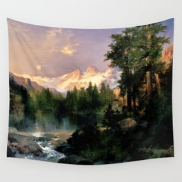 The Three Tetons, Grand Teton Mountains, Jackson Hole, Wyoming by Thomas Moran Wall Tapestry
