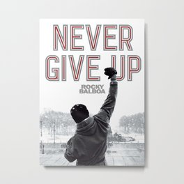 Never Give Up, Boxing & Life Motivation Metal Print