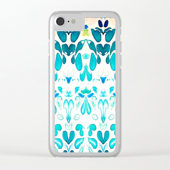 Memories of Summer, Bright Sea Blue and Yellow Clear iPhone Case