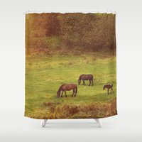 horses Shower Curtains featuring Horses by SensualPatterns