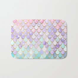 Iridescent Mermaid Pastel and Gold Bath Mat