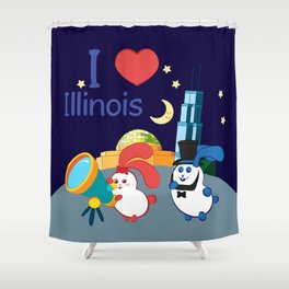 Ernest and Coraline | I love Illinois Shower Curtain