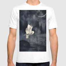 The owl and her mystical moon MEDIUM Mens Fitted Tee White