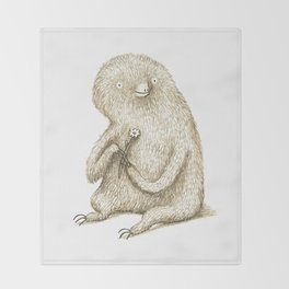 Sloth With Flower Throw Blanket