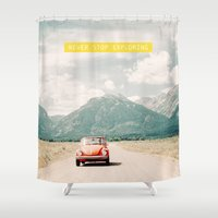 never stop exploring Shower Curtains featuring NEVER STOP EXPLORING V - vintage volkswagen bug by Leslee Mitchell