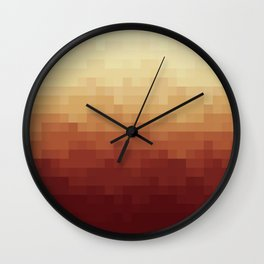 Gradient Pixel Red Wall Clock