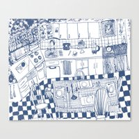 kitchen Canvas Prints featuring Kitchen by The Printed Peanut