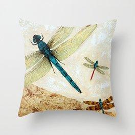 Zen Flight - Dragonfly Art By Sharon Cummings Throw Pillow