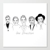 one direction Canvas Prints featuring One Direction by ☿ cactei ☿