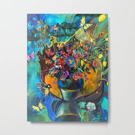 Flowers in Blue Landscape Metal Print