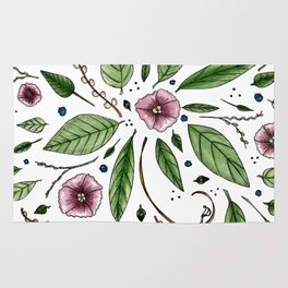 Hanging Among the Flowers & Leaves Rug