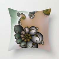 novelty Throw Pillows featuring Trinket Flower Fractal by Moody Muse