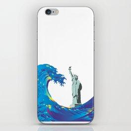 Hokusai Rainbow & the Statue of Liberty  iPhone Skin