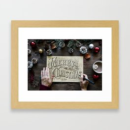Typography Drawing Of Merry Christmas Framed Art Print