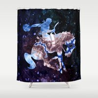 cowboy Shower Curtains featuring Ride'm Cowboy  by North 10 Creations