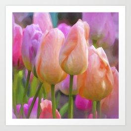 Spring Pastel Tulips Art Print