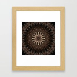 Bohemian Dark Brown Mandala Framed Art Print