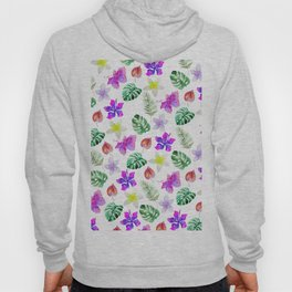 Pink violet green watercolor hand painted hibiscus floral Hoody