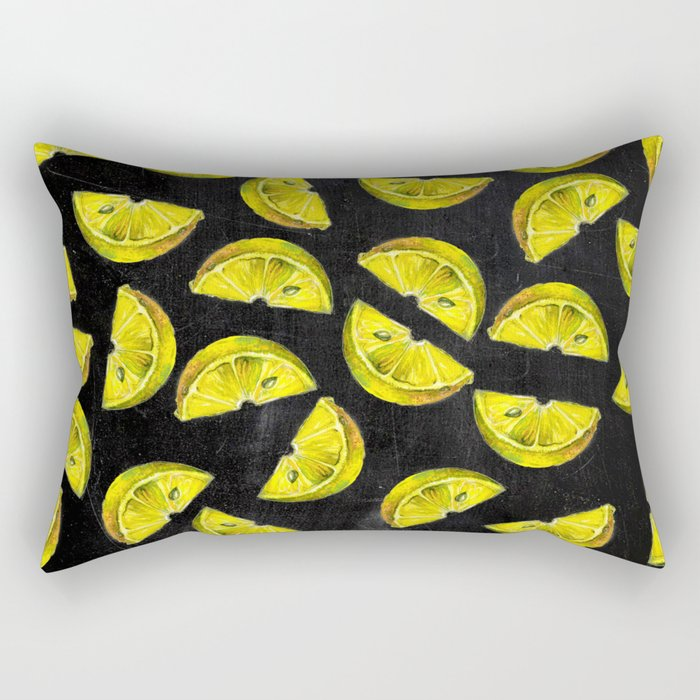 Lemon Slices Pattern Chalkboard Rectangular Pillow