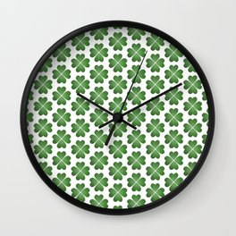 Hearts Clover Pattern Wall Clock