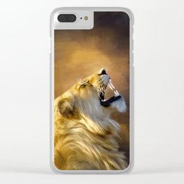 Roaring lion portrait Clear iPhone Case