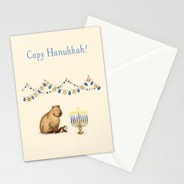 Capy Hanukkah - Capybara and Menorah Stationery Cards