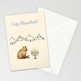 Capy Hanukkah - Capybara and Menorah Stationery Cards
